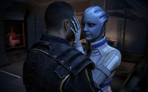 Liara and Shepard Gazing Into Each Other 2 by g805ge
