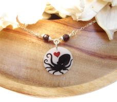 Octopus Heart Necklace no.2 by KiriMothDesigns
