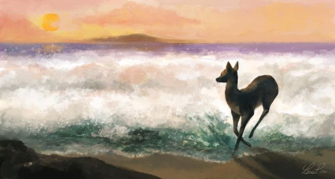 Deer at the beach by Chibi91