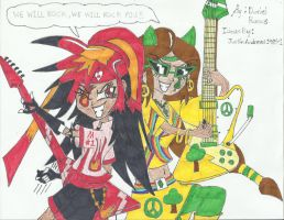 Maria and Evelyn Guitar Shredders by AngelMaria89