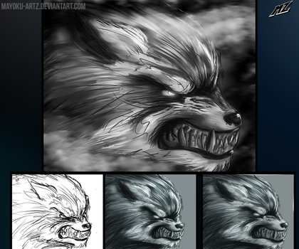 Werewolf in the fog - Process by mayoku-artz