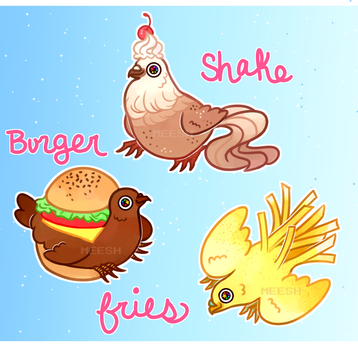 (c) (cookie dove) burger shake and fries by xAerisx