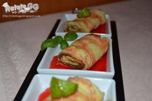 Crepes with chocolate and strawberry sauce by DanutzaP