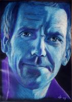 Hugh Laurie blue pastel by corienb
