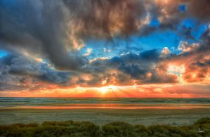 Peach Sunset at Waldport by cokehead666