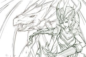 Shyvana Sketch by cr-applesauce