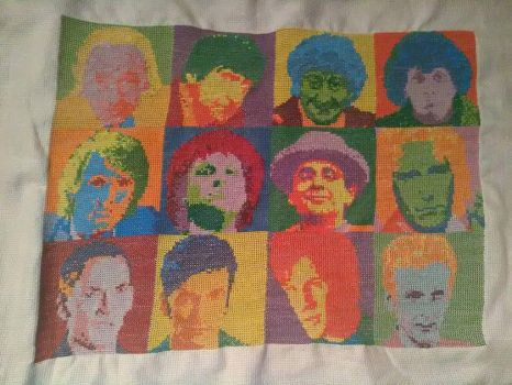The Many Faces of the Doctor cross stitch by Hami2000