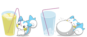 Pachirisu's big drink by selphy6