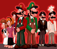 TANSMSE: The Mario Brothers and their Staff by sallen623