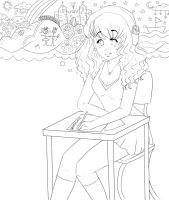 Lost in thought - Line-Art by Demachic