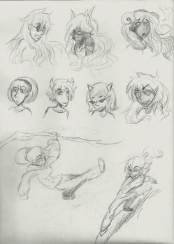 Sketches- some Homestuck chicks (and a Vanellope?) by GlitterGeekAngel