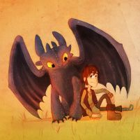 Toothless and Hiccup by o-w-l-y