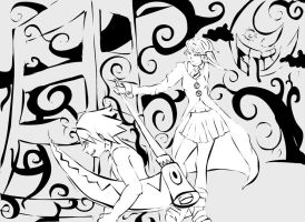 Soul and Maka Lineart by stickypenguin