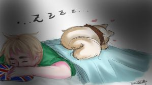 Hetalia: England and kitty Alfie by NessieMcCormick