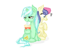 Lyra is teaching Bonbon how to sit.. by PlaviLeptir