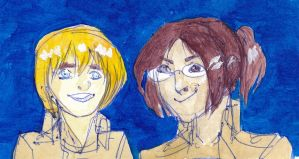 that's his eager face - hanji and armin by feltstickers