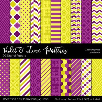 Violet And Lime Patterns by MysticEmma