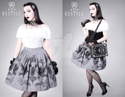Crows and Lanterns Skirt by Euflonica