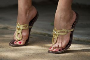 Tip Toes in Golden Flat Sandals II by Feetatjoes