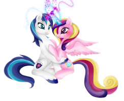 Shining Armor and Princess Cadence Finished by Lunaltaria