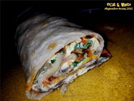 Bacon and Peppers Omelette Wrap by Cat-n-White