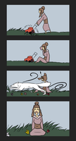 Mowing the Lawn Can be Difficult.. by KeitiBlackWhiteWolf