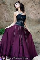 Burgundy and Black Princess Gown with Chains by DaisyViktoria