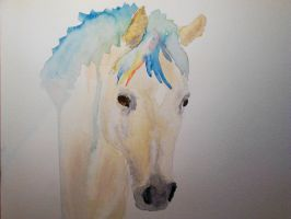 Painting of a Golden Palomino Horse by mayIdrawyou