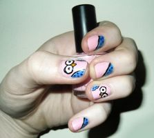 Pink and Blue Owl Nails by RoxysSlushPuppie