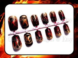 Hunger Games Girl on Fire Nail Set by Classikelly