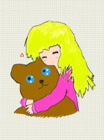 Girl hugging her teddy bear by Necrophilliacness