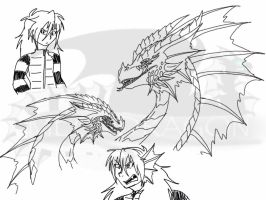 Fables-Mega the Red Dragon sketches by BlackDragon-Studios