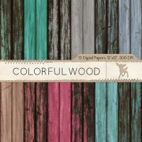 Colorful Wood Digital Paper by MyDearMemories
