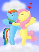 Rainbow Dash and Fluttershy kissing by Infera1
