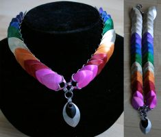 Rainbow and Silver Scale Collar - For Sale by Ichi-Black
