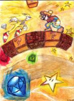 Super Sonic Vs. StarMan Mario by woodduckprime