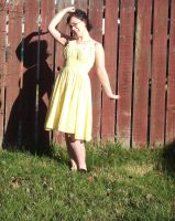 yellow gingham dress by Morgan-La-Fey