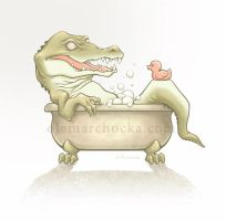 Crocodile in the bathtub by aleksandracupcake