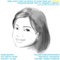 Arvin Bautista Sketches 2017 19/100: My sister by greasypigstudios