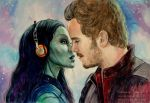 Guardians of the Galaxy. Gamora, Peter Quill by Knesya27