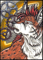 ACEO - Entre engranajes by HowlingWolfSong