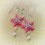 Bright Pink Star and Bow Earrings by shoudoumagic