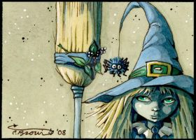 Little Blue Witch ACEO spider by candcfantasyart