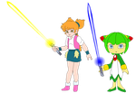 Flora and Cosmo With Light Sabers by jaycebrasil