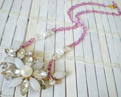 Milk Glass and Rhinestones by RetroRevivalBoutique