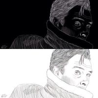 Benedict Cumberbatch Negative Drawing by rebeccaholmes