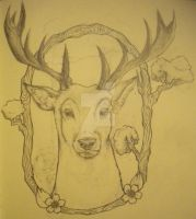 Stag Thigh Tattoo Design by EnnaDearest