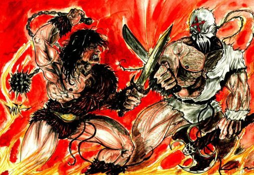 Reverendo cruz vs conan the barbarian by DAMIX by DAMIX-ART