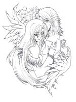 Tsukiyomi and Castiel Lineart by LAELAH