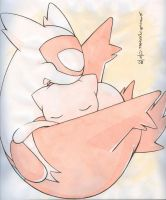 Mew and little Latias by Kidura